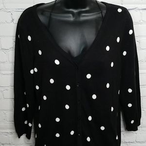 Talbots polka dotted 3/4 length sleeve sweater